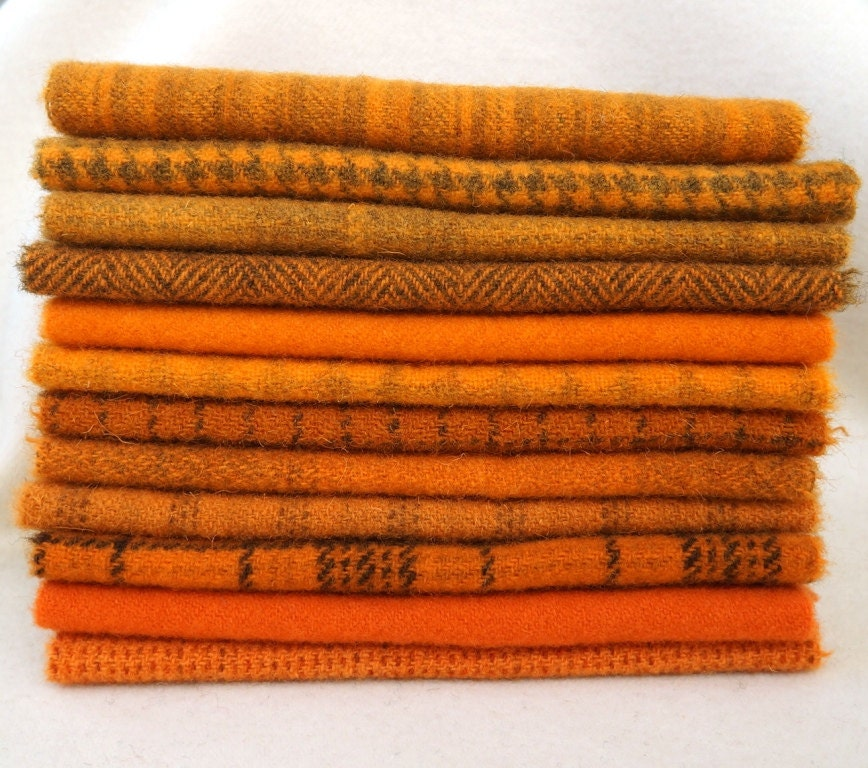 Hand Dyed Felted Wool in a Beautiful Collection Orange Tones a Perfect Rug Hooking and Applique Wool 4006 - quiltingacres