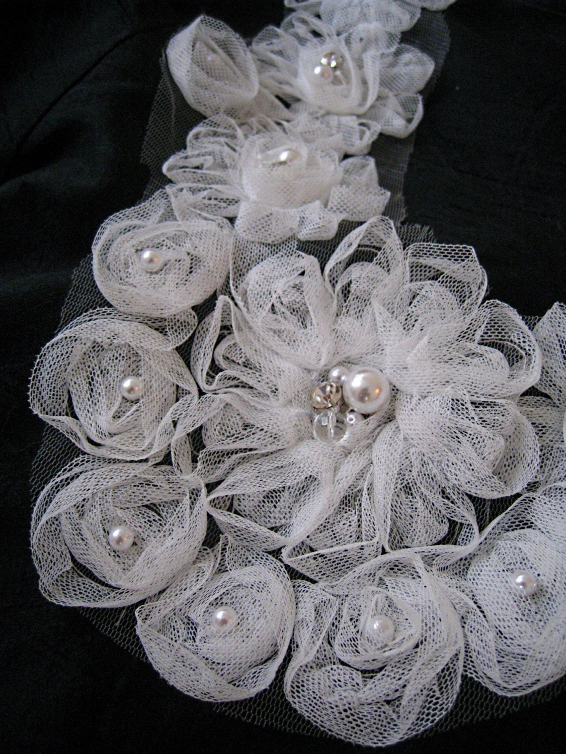 Tulle Rosette Bib Statement Ribbon Necklace with Crystals and Pearls - LAST TWO