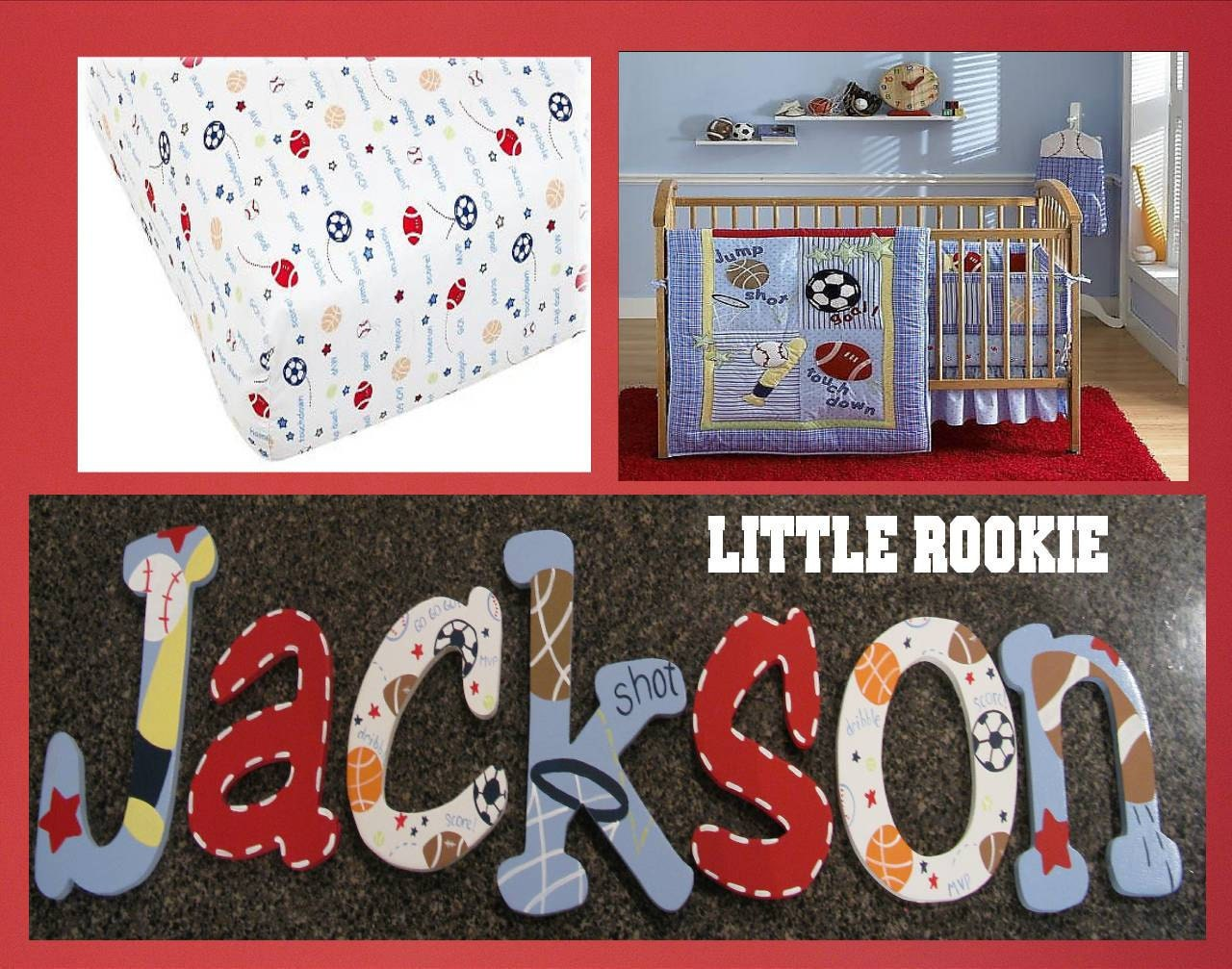 Little Rookie All Star Sports Fan  Hand Painted Nursery Wall Letters
