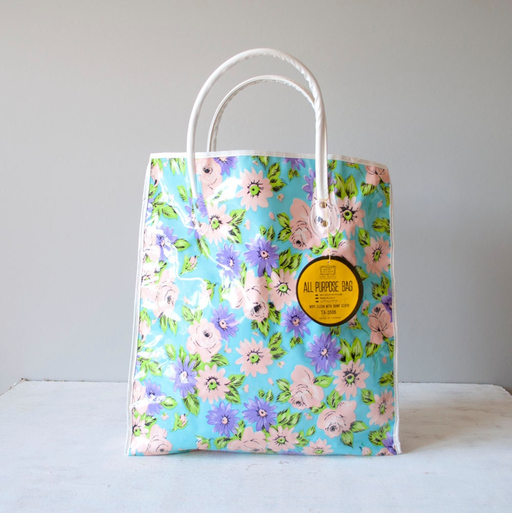 Vintage 60s Floral Market Bag by MariesVintage on Etsy