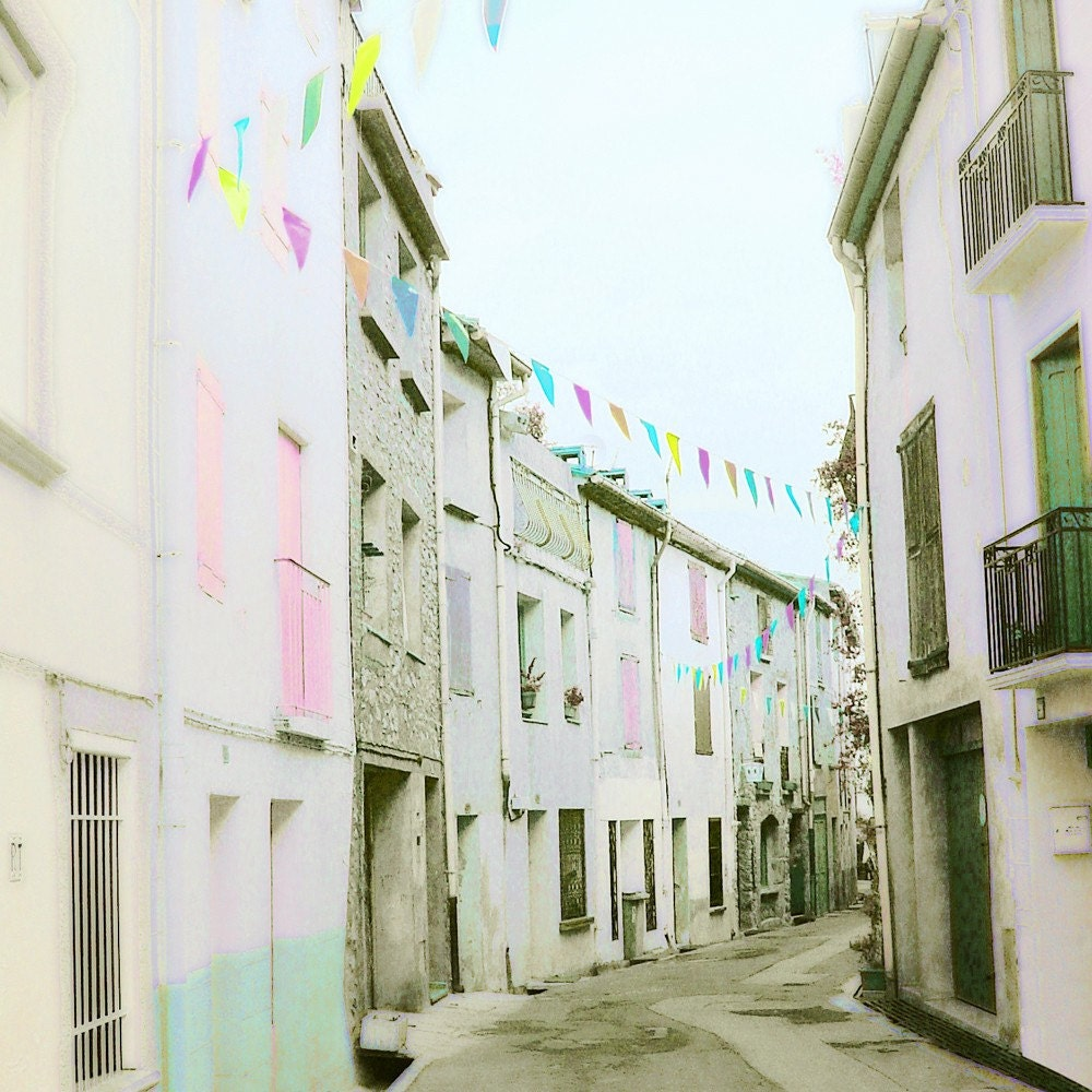 "Pastel Avenue Fine Art Photograph Print 5"" by 5"" Vintage inspired Retro Dreamy French Village Street Photography Unique Wall Art for Home Decor France Travel"
