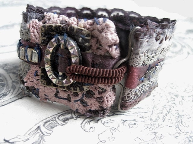 I Meet My Shadow.  Salvage Cuff with Czech Glass Buckle.