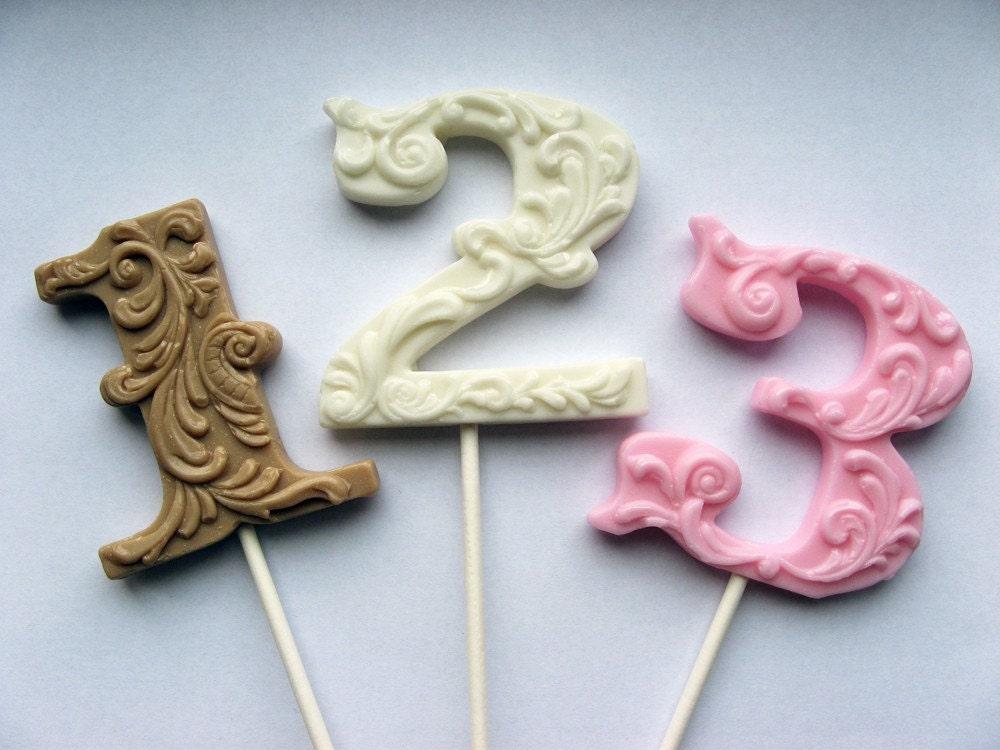 """3"""" fancy filigree number hard candy lollipops use for wedding escort cards"""