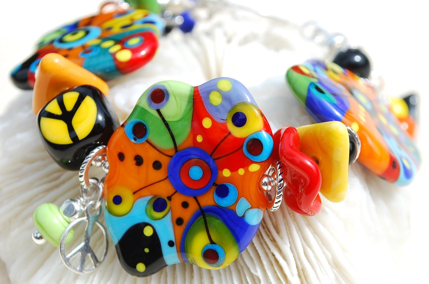 HIPPIE at HEART-Handmade Lampwork and Sterling Silver Bracelet