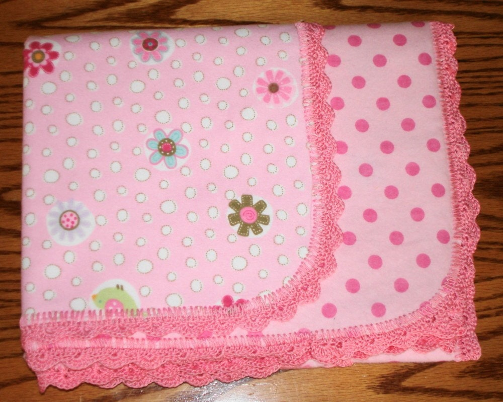 Flannel Baby Blanket with crocheted Edge by Brierpatch on Etsy