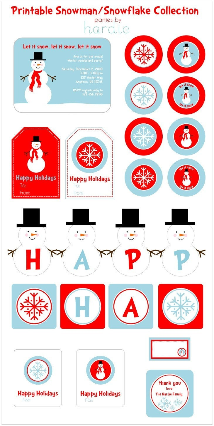 DIY Printable Snowman-Snowflake Collection-CUSTOMIZABLE