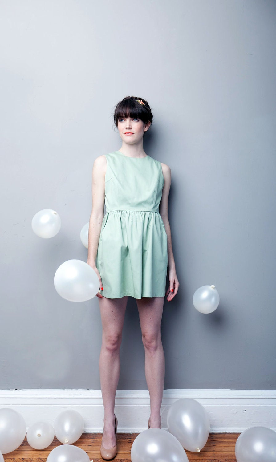 SALE If I Only Had A COTTON Heart Dress - Seafoam Ready to Ship