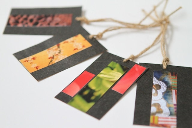Gift Tags from Upcycled Wine Bags and Photographic Paper with Jute Twine - EchidnaArtandCards