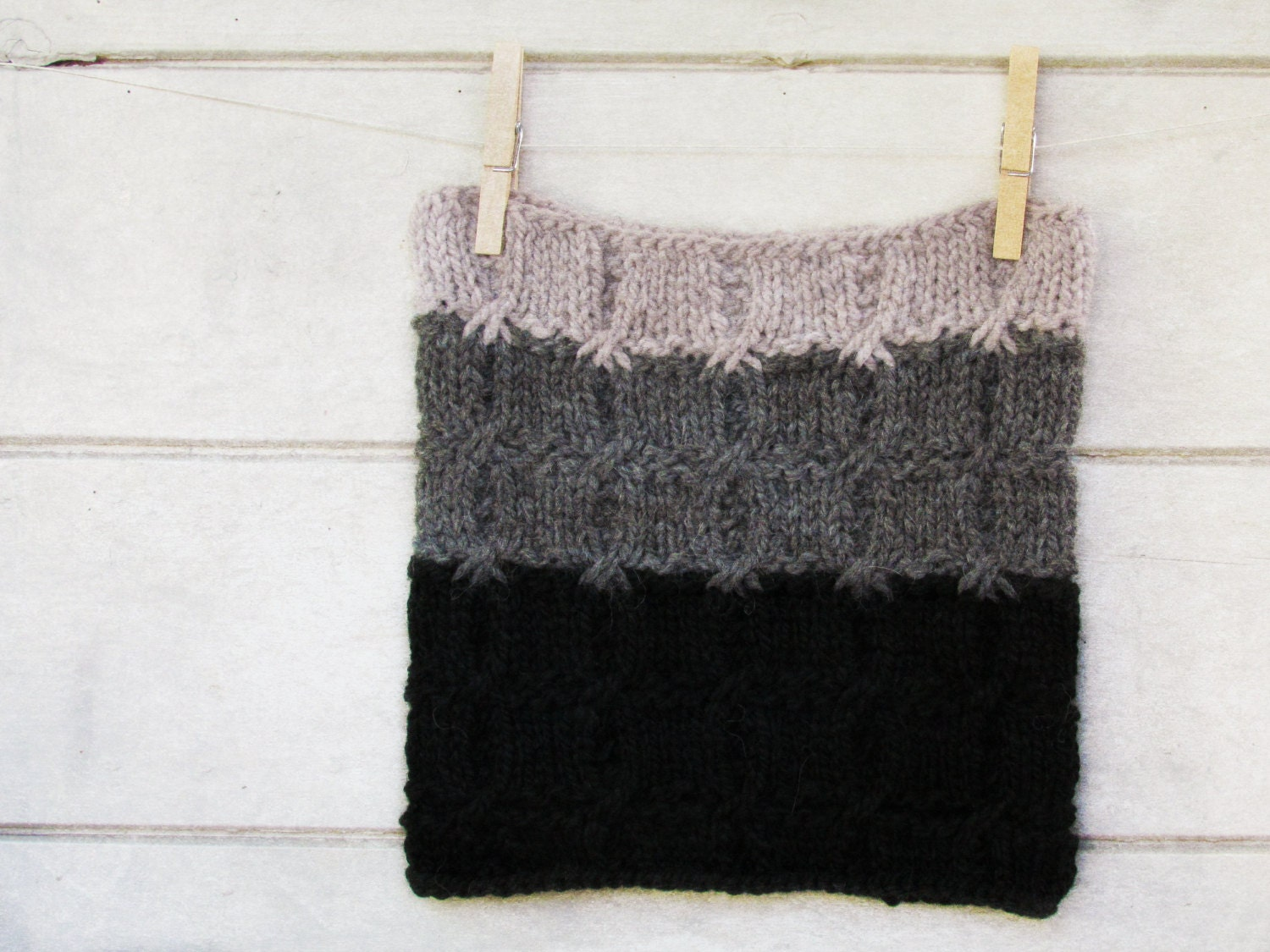 Chunky Ombre Cowl - black, dark and light grey - stripe luxury alpaca -  Cozy and hearth warming accessory  - fall fashion - unisex - theYarnKitchen