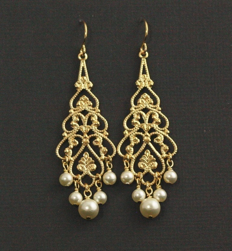 Princessa Chandelier Bridal Earrings -- Gold Filigree and Creamy Swarovski Crystal Pearls