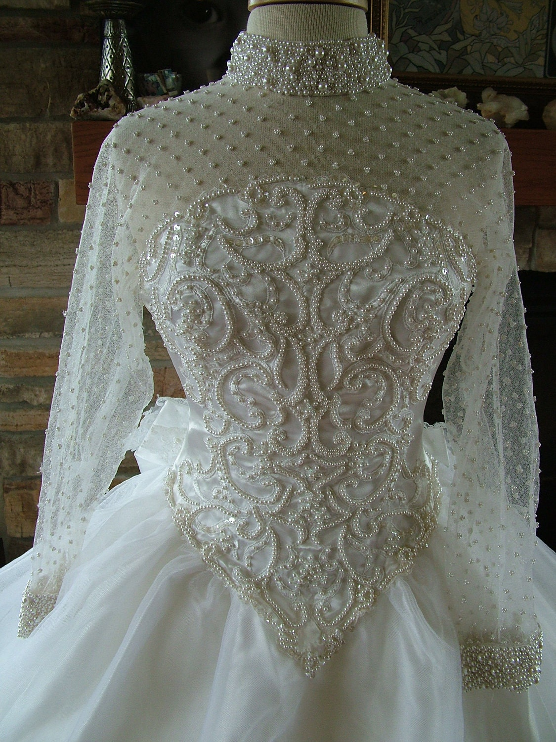 Wedding dress vintage pearl beaded bridal by for Wedding dress beading patterns