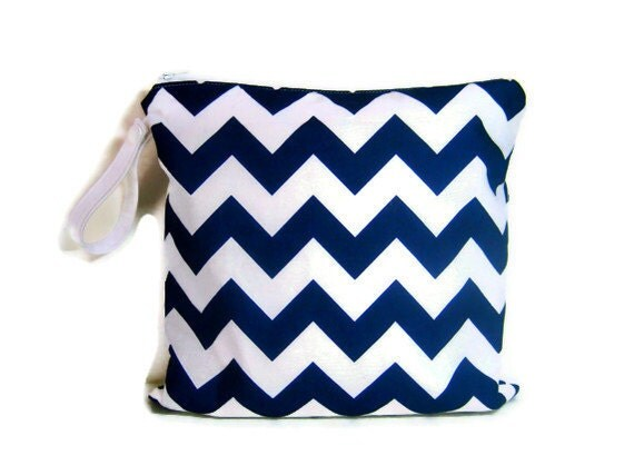 navy blue white chevron wet bag swim suit pool by forkeepsamanda. Black Bedroom Furniture Sets. Home Design Ideas