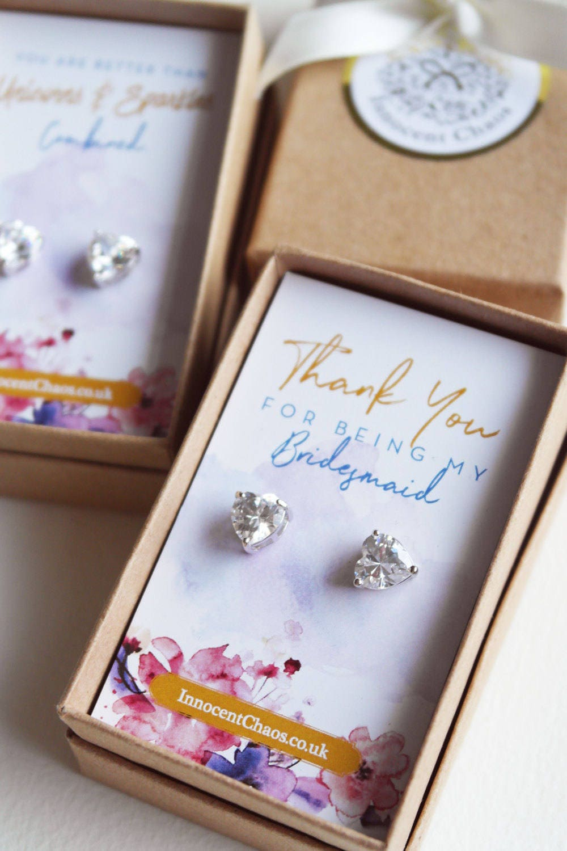 Crystal earrings heart earrings rhinestone earrings white gold bridesmaid gift thank you gift small heart earrings clear crystal stud