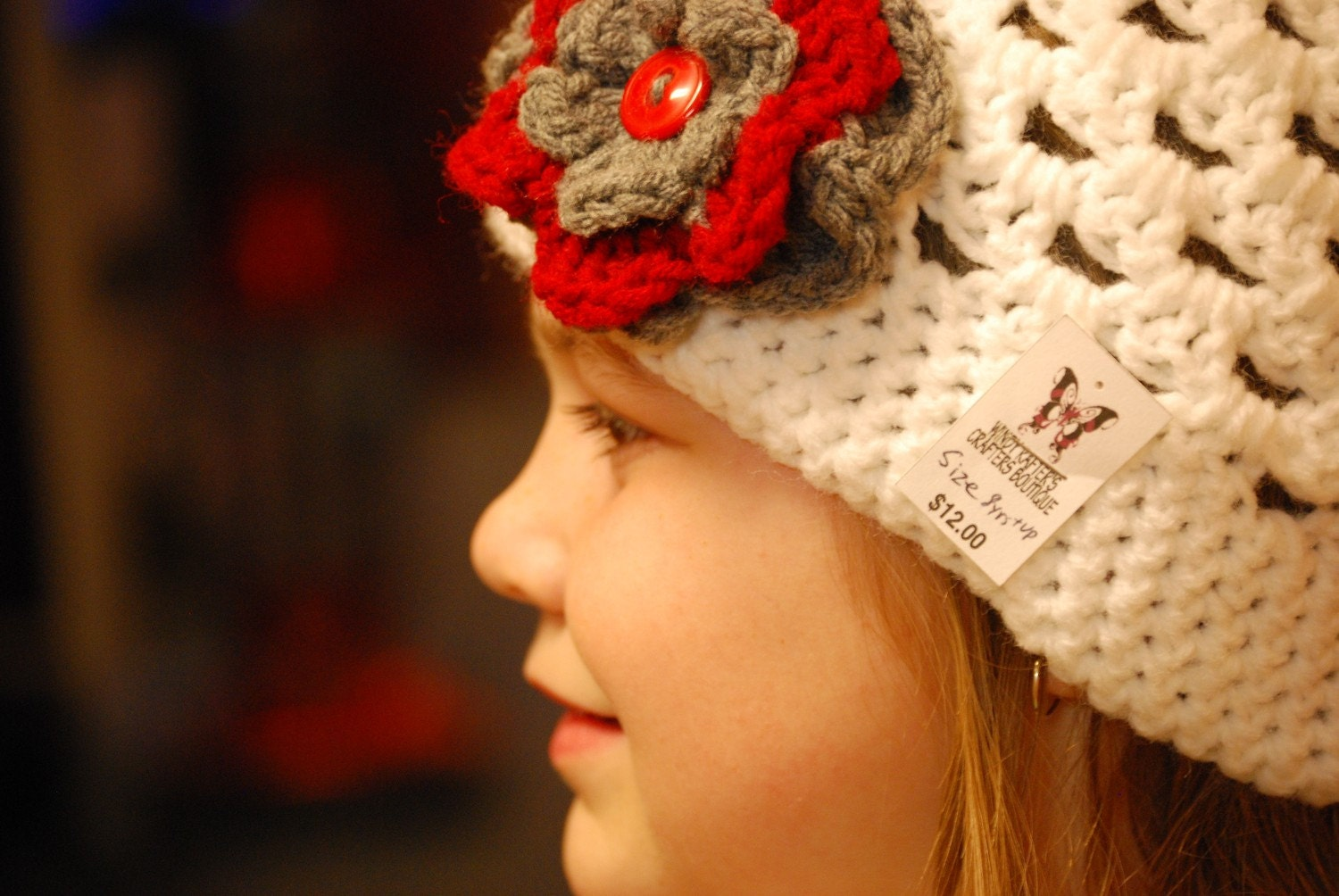 Boutique Crochet Flower beanie, order yours today- custom colors and sizes