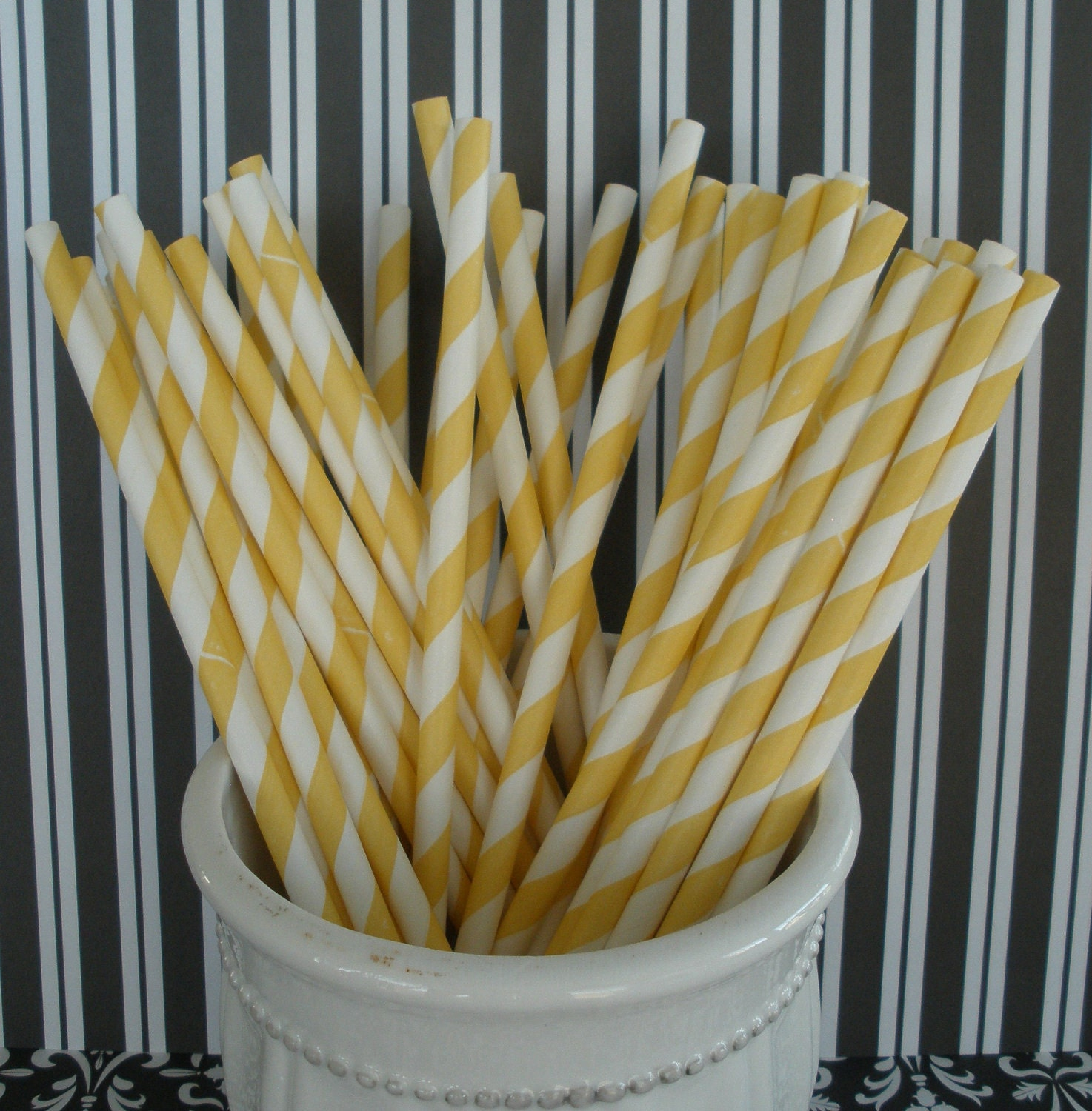 50 Yellow Stripe Paper Drinking Straws w/ DIY Blank Printables, Retro, Vintage Inspired, Biodegradable