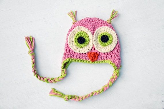 Baby Girl Owl Hat Pink and Green Photo Prop