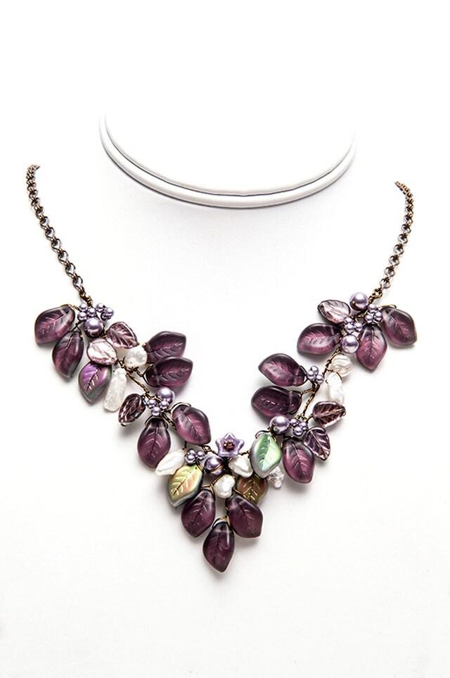 Burgundy Bib Necklace, Purple Necklace, Wedding Jewelry, Nature Jewelry - CherylParrottJewelry