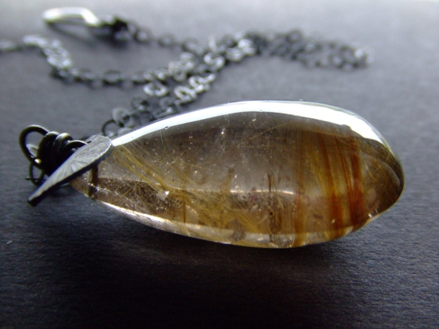 Handmade Jewelry on Etsy - SALE. pera de ouro. XXXlarge gold rutile quartz necklace by BeijoFlor from etsy.com