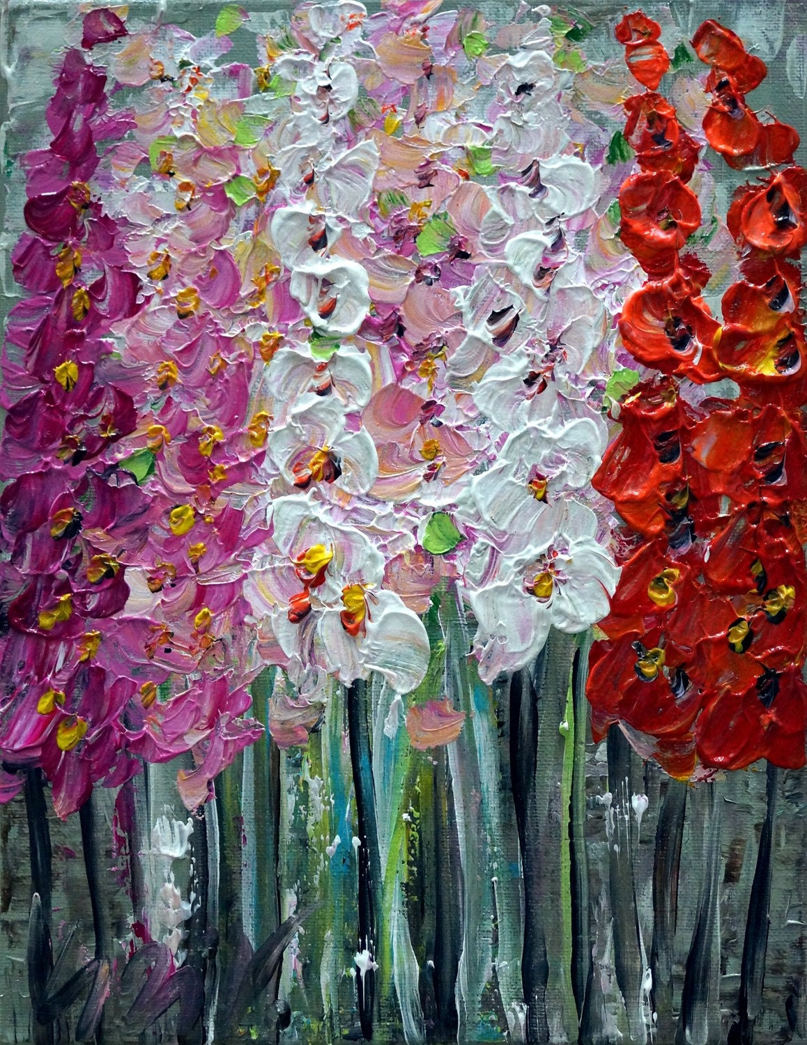 Original oil painting flowers for you modern by luizavizoli for Modern flower paintings