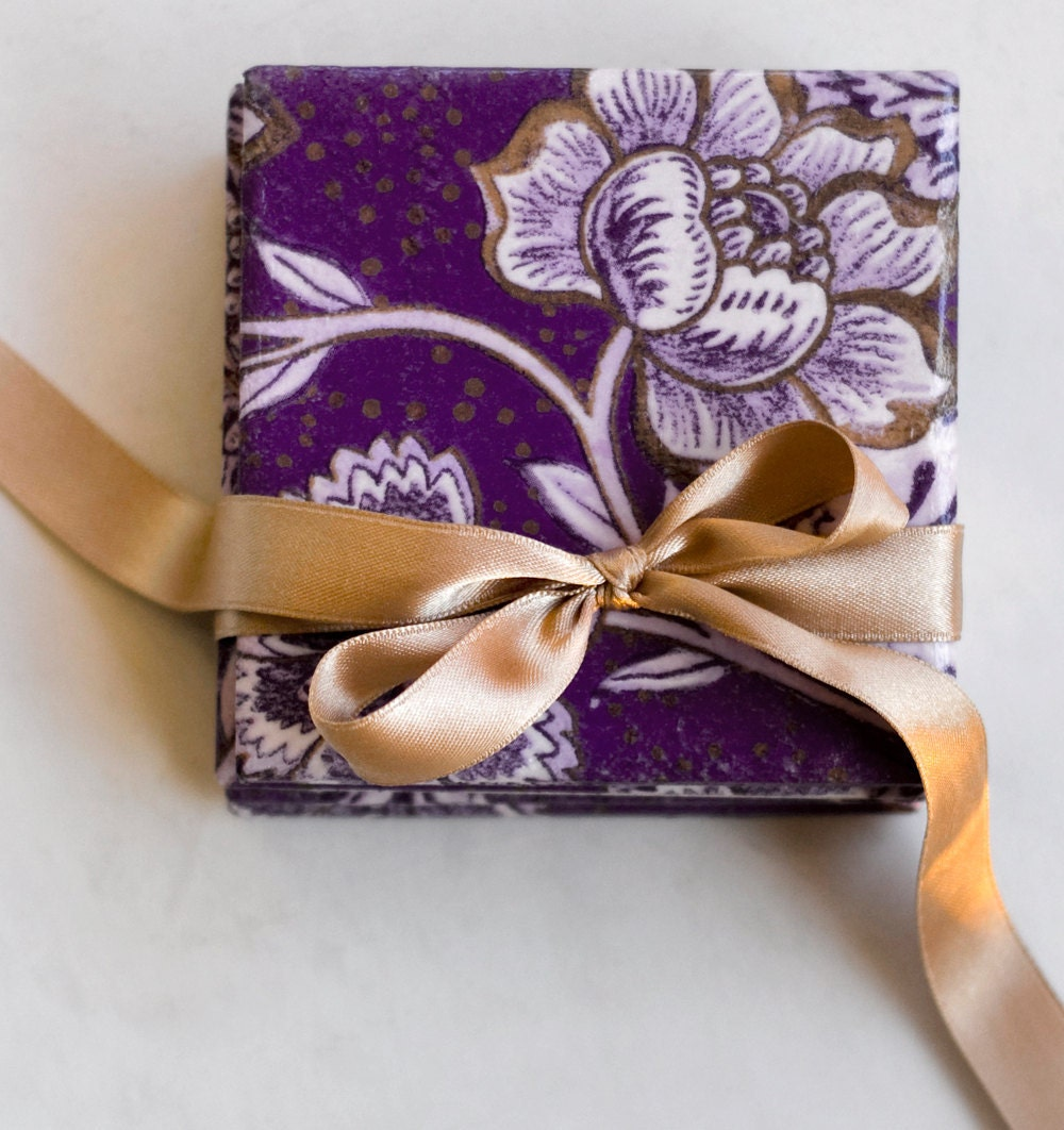 Tile coasters Purple Flowers Violet Lilac Gold, set of 4 - Tilissimo