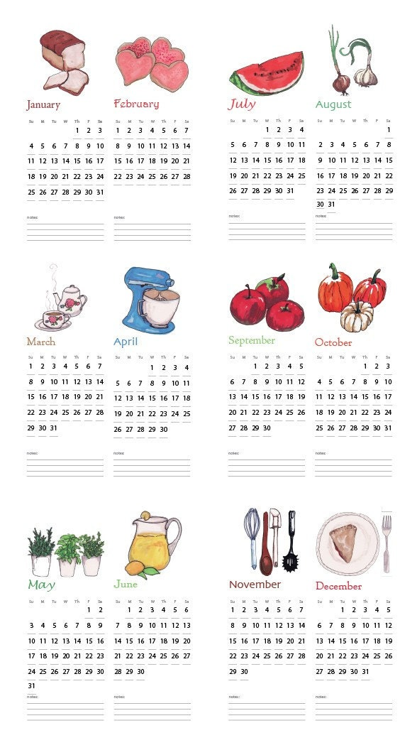 FOODIE Hand Illustrated 2009 Wall Calendar