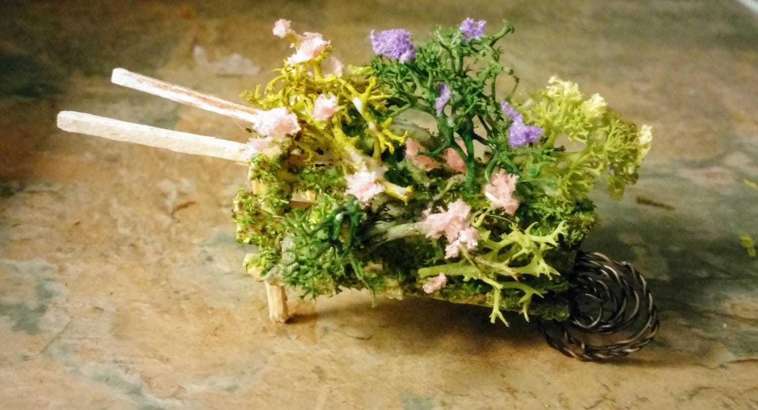 Fairy garden miniture wheelbarrow handcrafted with tiny bushes and flowers choice of 3