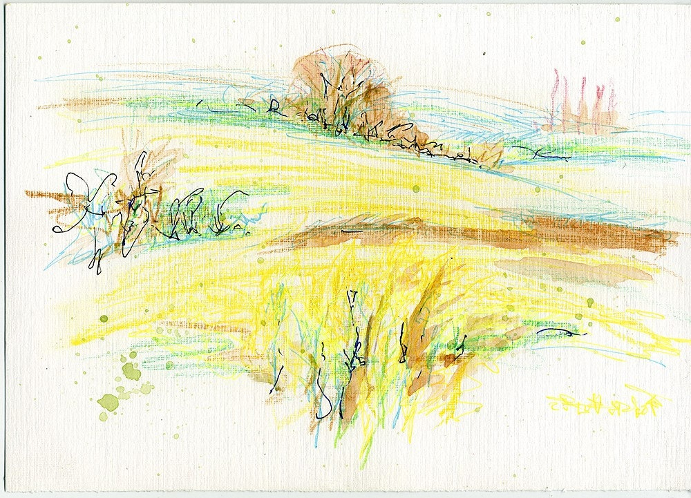 A quick sketch of fields and hills of East Midlands, UK, 8 x 6 inches