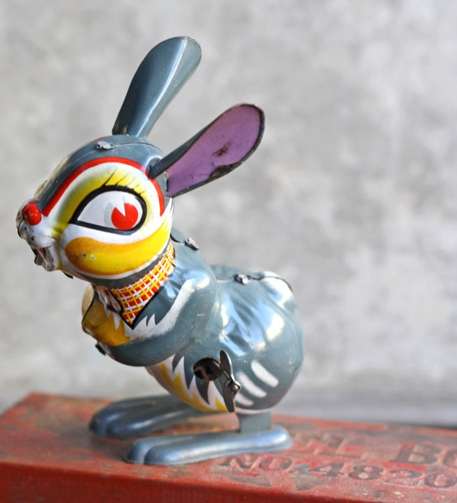 Vintage Gray Tin Toy  Rabbit