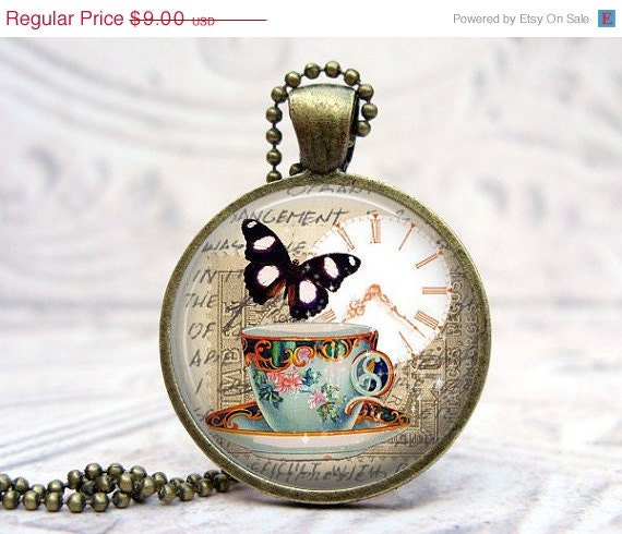SALE Tea Cup Butterfly Art Pendant Glass Dome Vintage Bronze Picture Pendant Photo Pendant Art Jewelry by Lizabettas