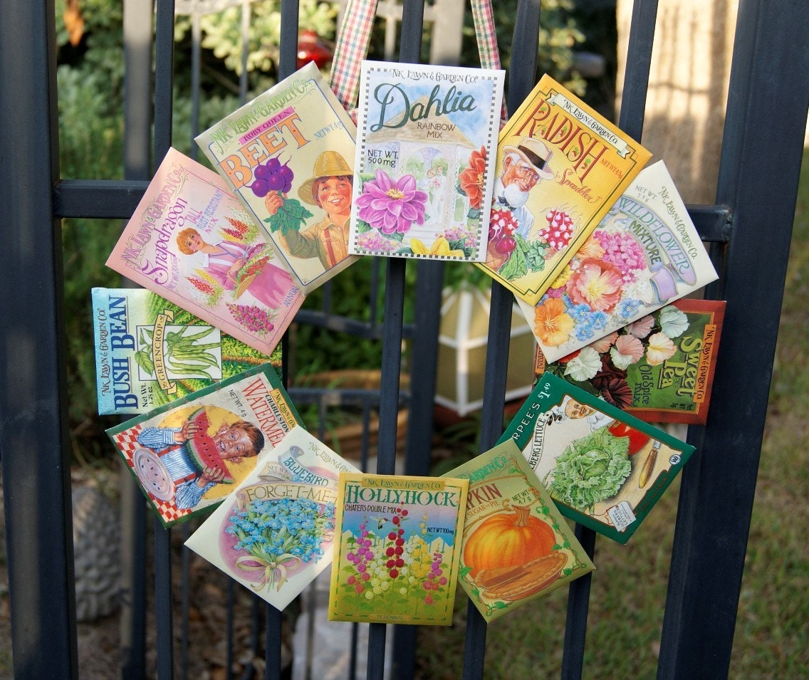 Whimsical Spring Seed Packet Wreath (no 115)