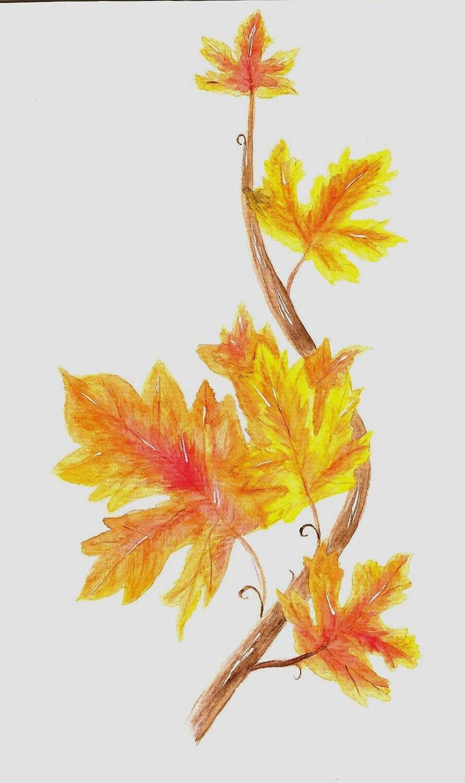Matted Art Print of Original Watercolor Painting of Autumn Maple Leaves - ValerieNusbaumAandD