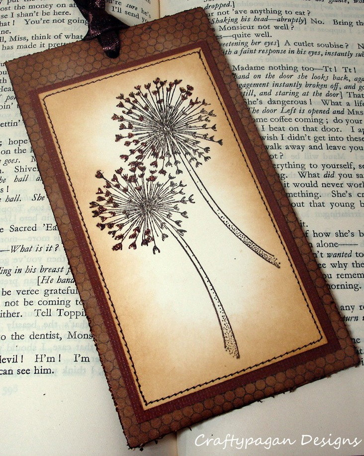 Elegant Dandelion Bookmark Double Sided Vintage Style-Stamped and Stitched