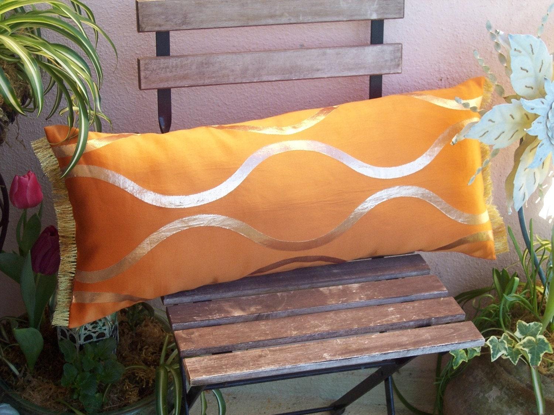 Orient Express - Mandarin Orange Silk Japanese Kimono  textile throw pillow
