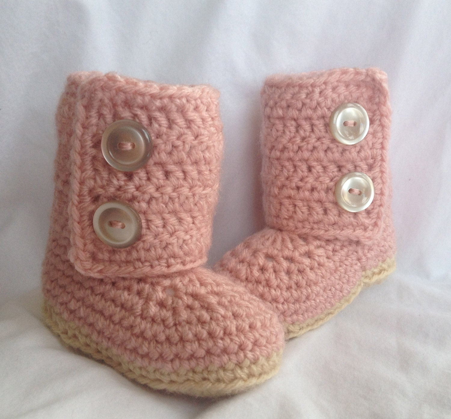 Crochet Baby Booties Pink Boots by cmiron on Etsy