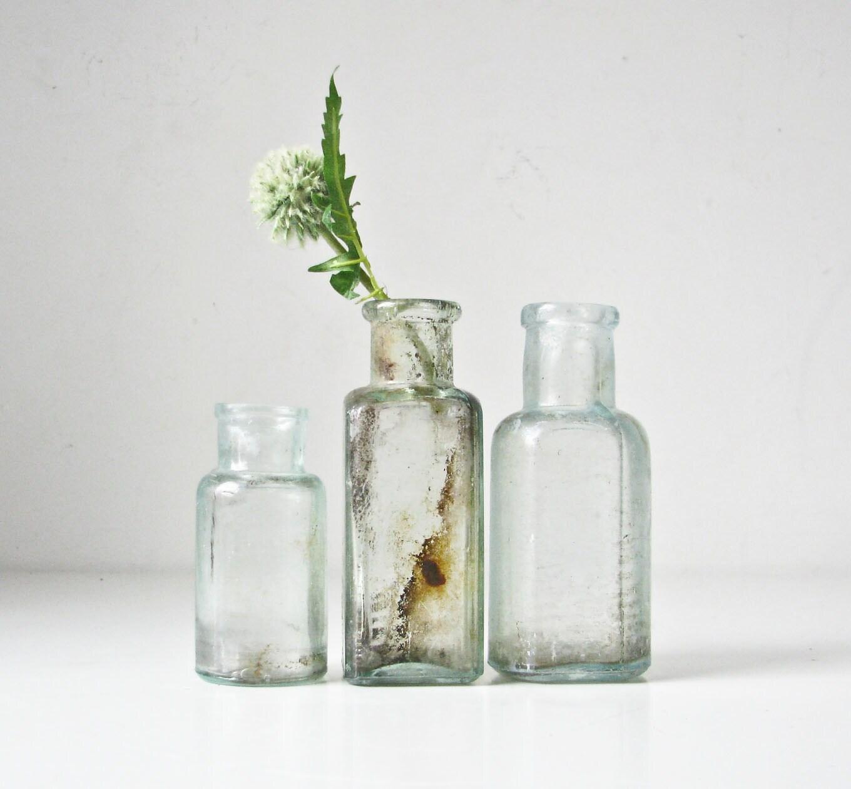 3 Vintage Aqua Glass Bottles - BeeJayKay
