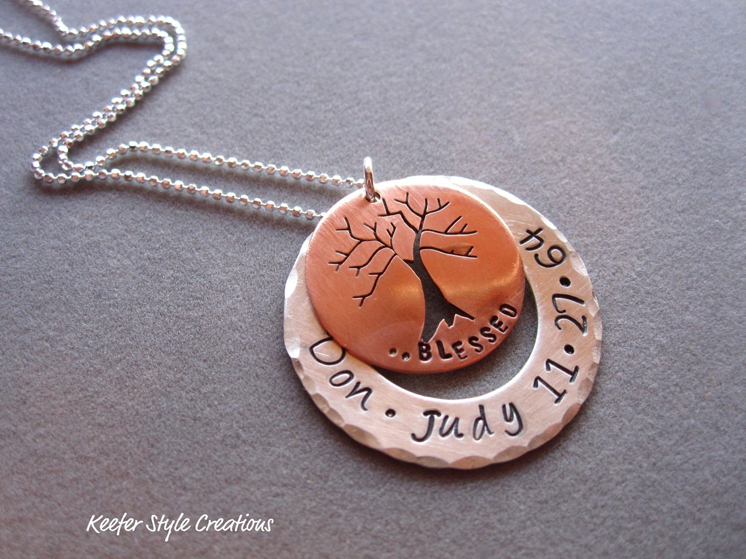 Hand stamped washer with copper family tree cut out necklace