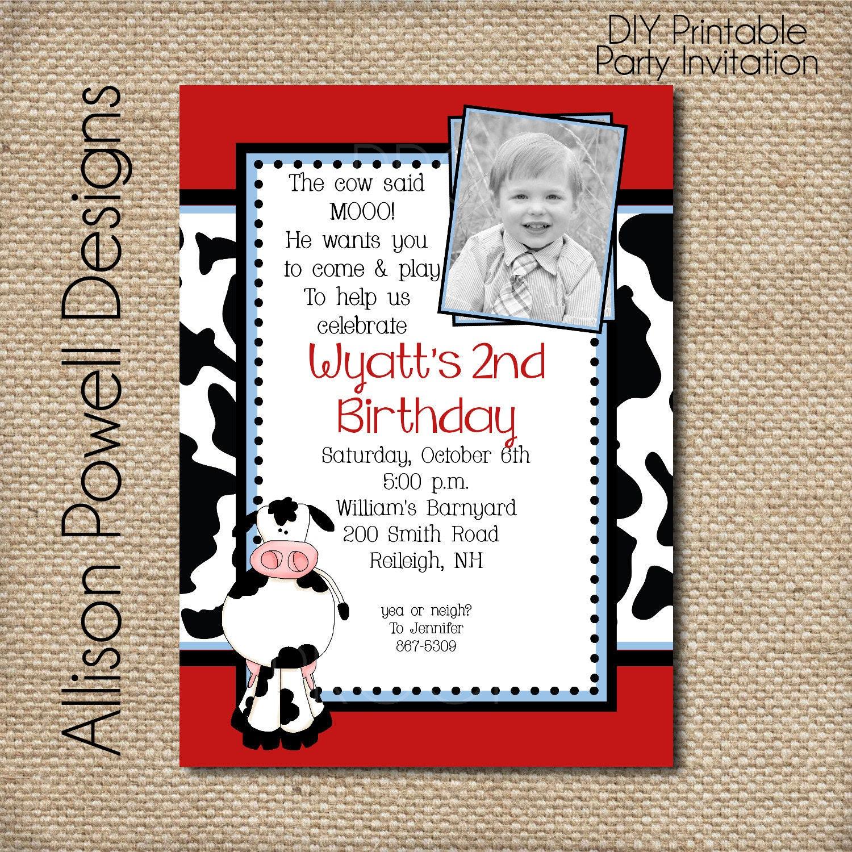Similiar Cow Birthday Party Invitations Keywords