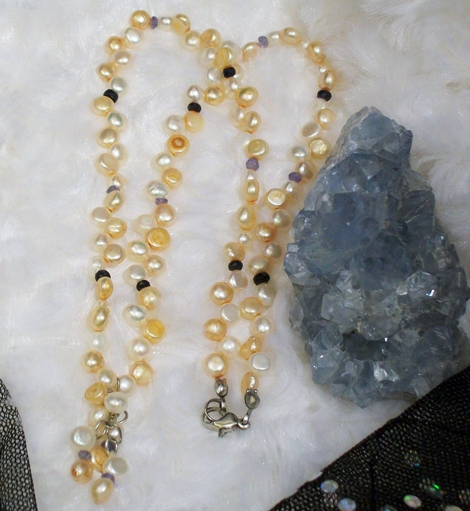 Mother of Pearl Sapphire and Tanzanite Necklace Tranquil Healing