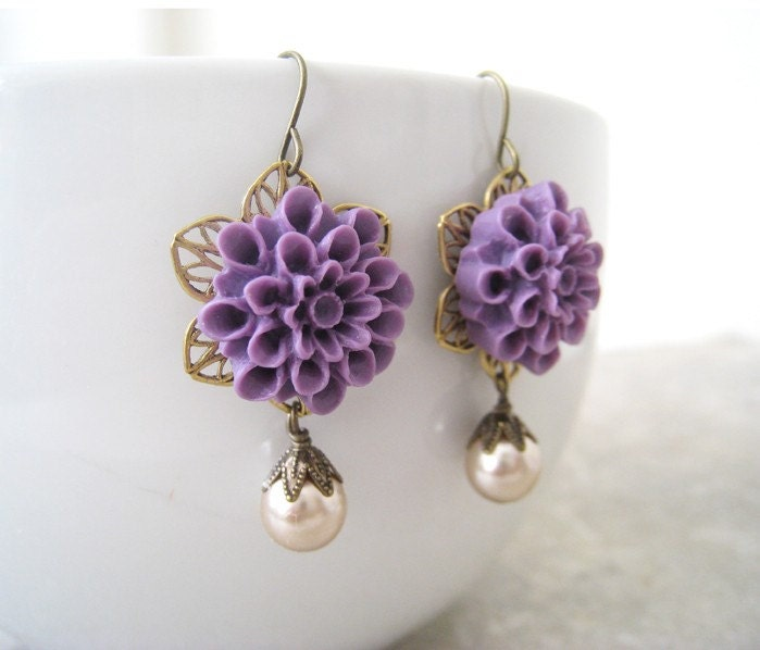 Romantic Purple Flower Filigree Earrings