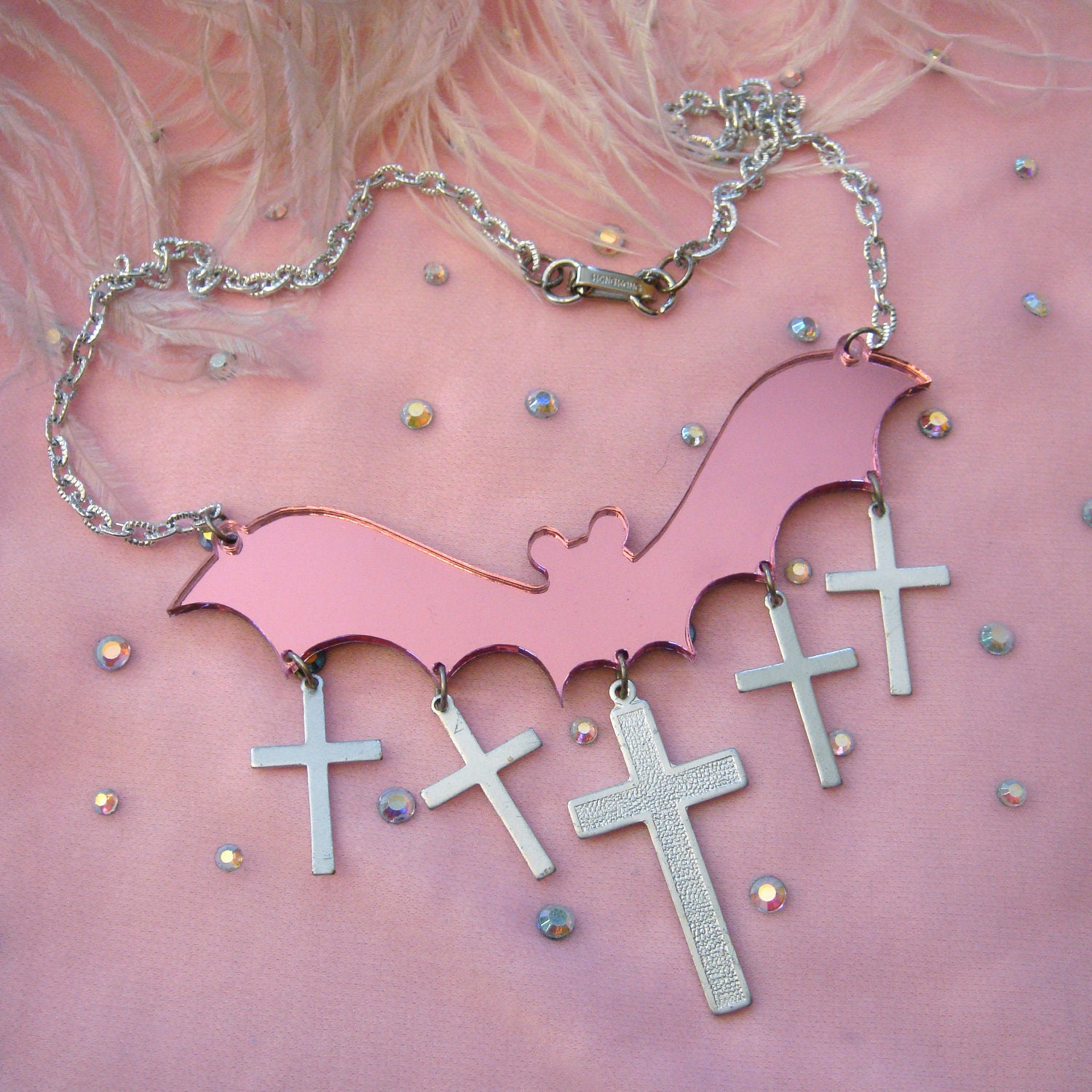Pink Mirror Bat and Crosses Acrylic Necklace