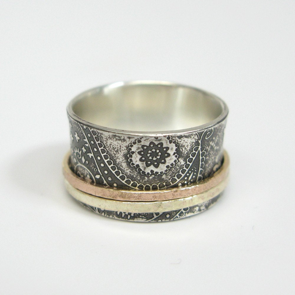 chunky paisley sterling silver spinner ring by