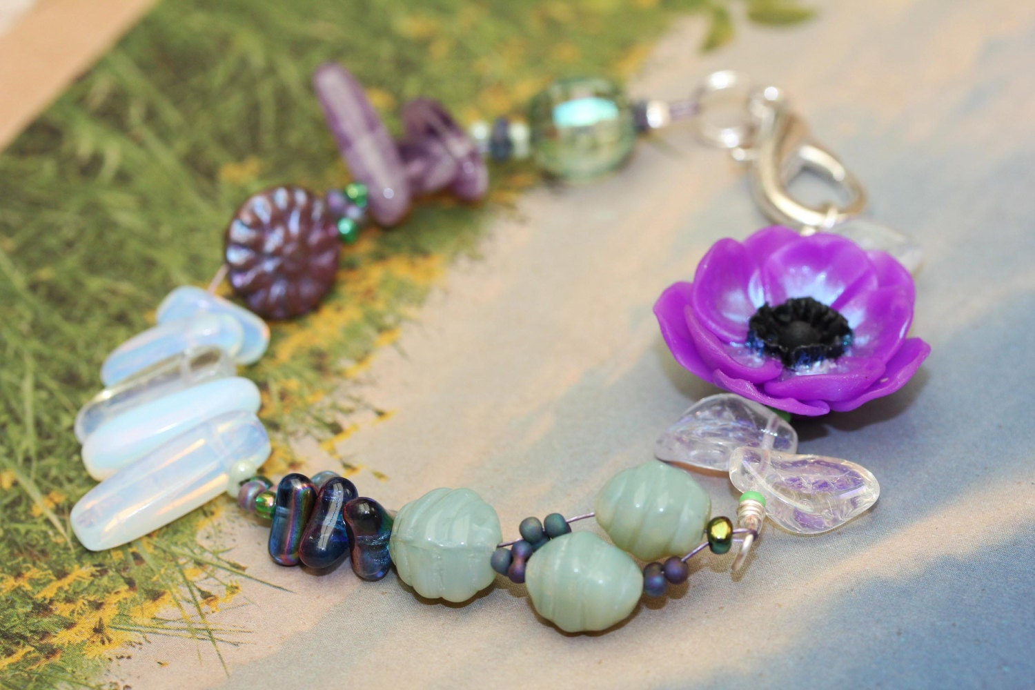 Opalina Anenome Bracelet  Artisan Flower and Barrel Beads Opalite Amethyst Crystal and Czech Glass Leaves