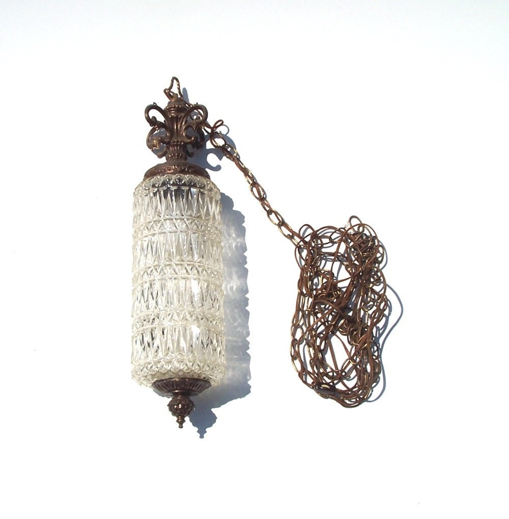 Rare Cut Glass Cylindrical Hanging Swag Lamp