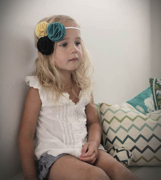 Felt Flower Headband Cluster - Navy, Turquoise & Butter yellow - Felt Pom Pom Headband . Pom Pom . Back to school .