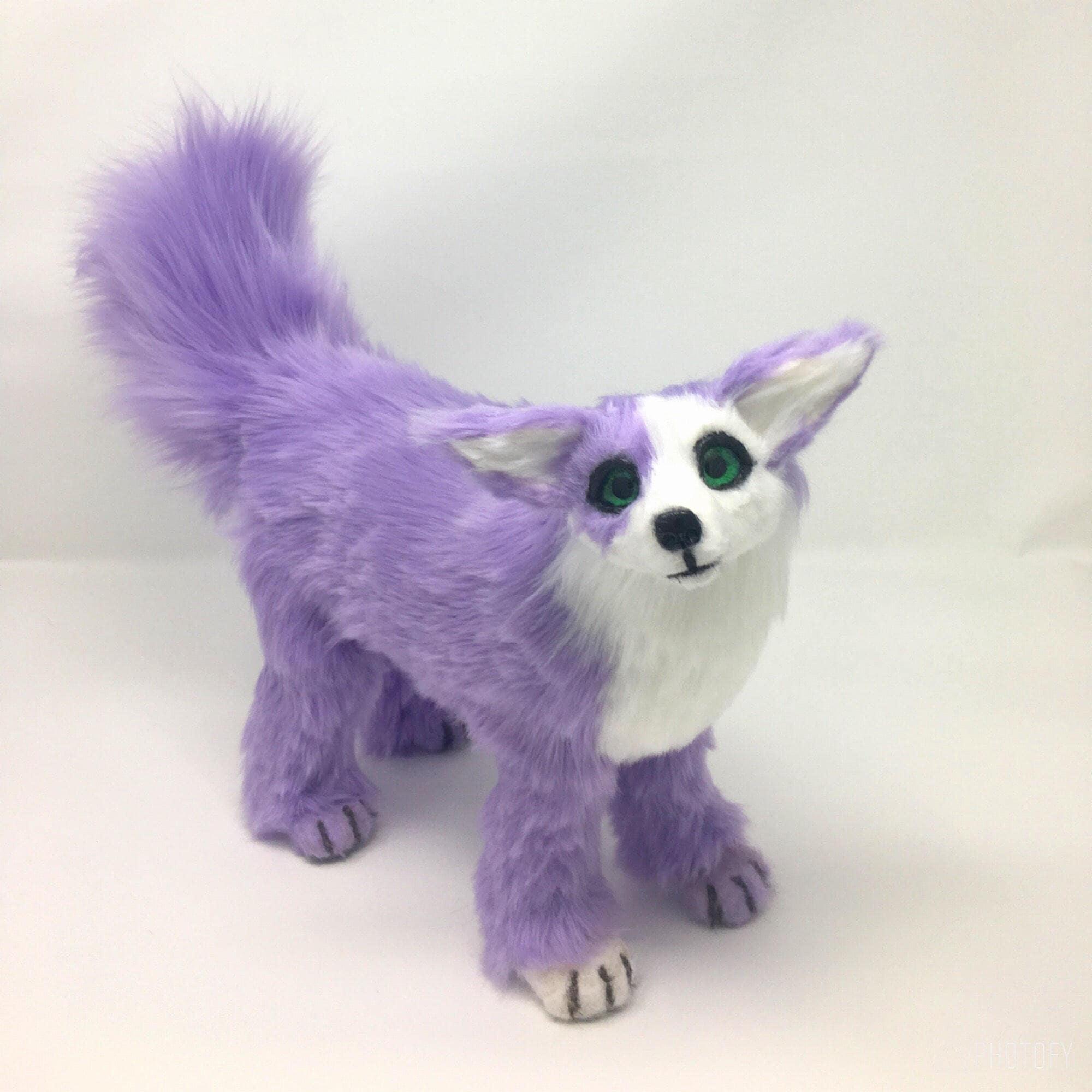 Poseable art doll animal lilac fox fantasy creature ooak art doll cute plush art doll Kora the lilac fennec fox