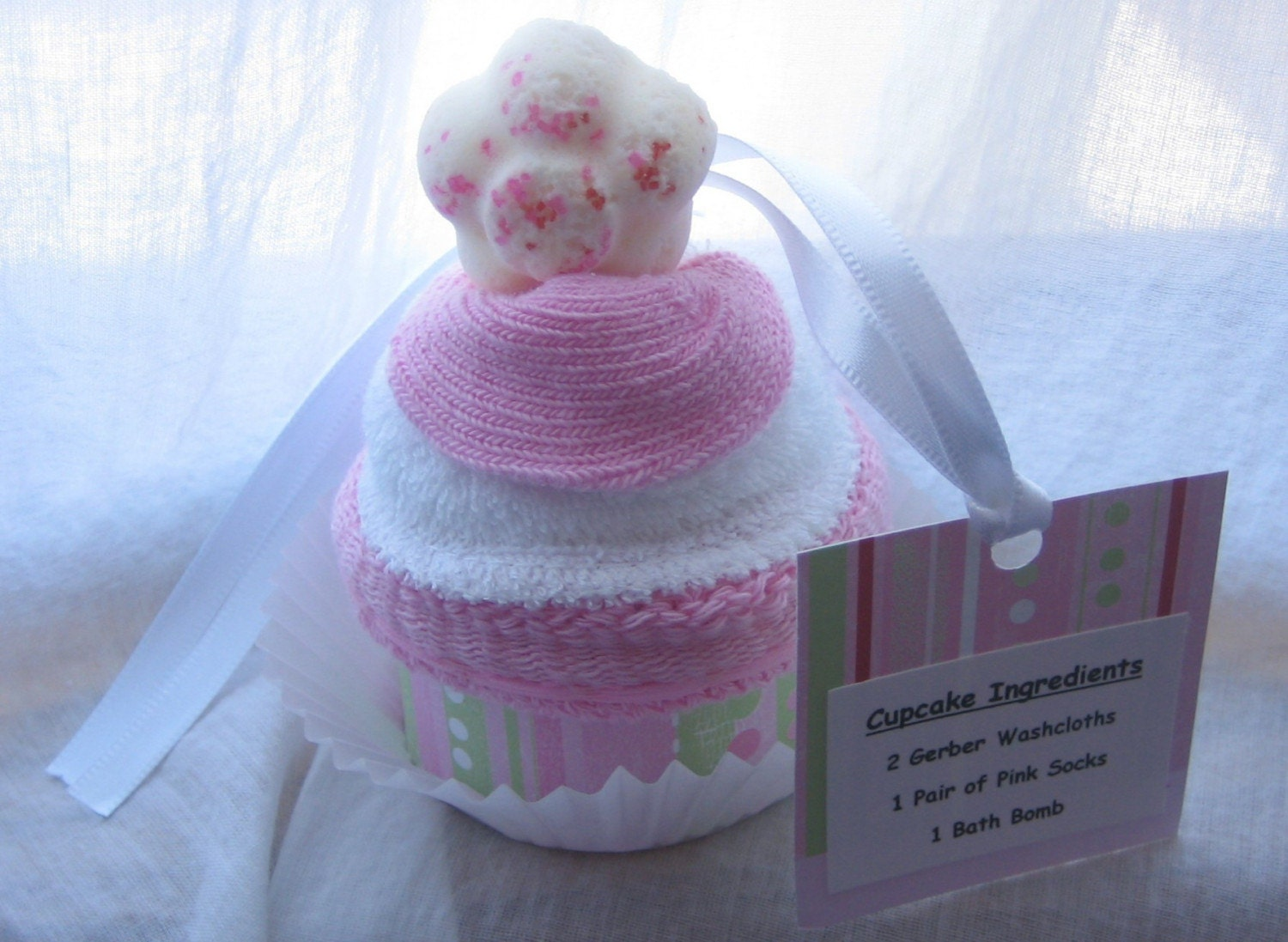 Cupcake washcloth and baby socks with bath bomb flower or heart shape on top GREAT FOR BABY SHOWERS or BIRTHDAYS