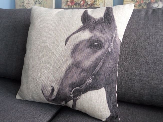 Vintage Black And White Horse Head Pillow Linen By Laowuaierge