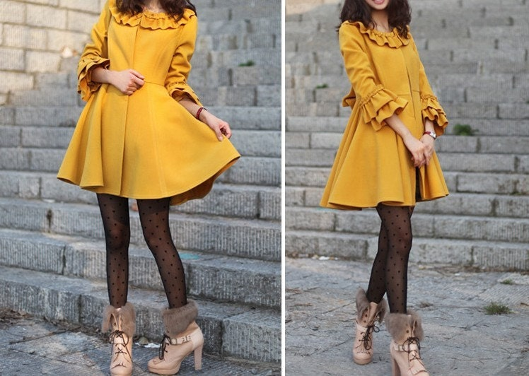 women's Princess style cute bow Fitted Wool  Coat jacket yellow dy02 S-XL