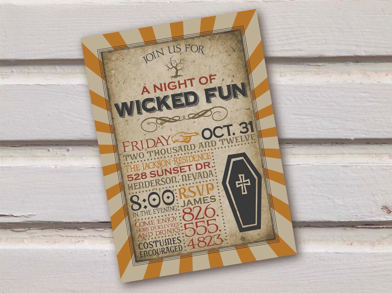 Vintage Spooky Halloween Invitation-Digital-
