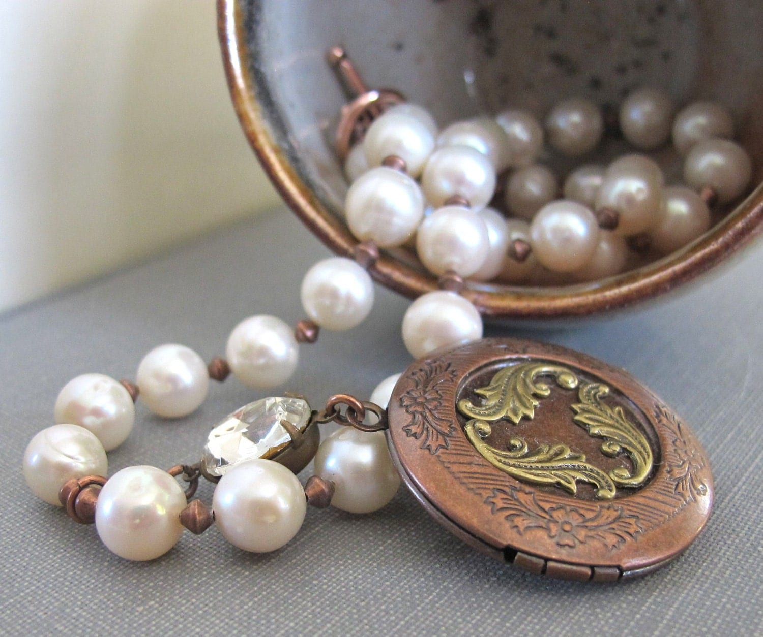 Pearl Necklace, Ivory White Pearls, Copper Necklace, Filigree Locket, Clear Rhinestone, Wedding White, Pearl Jewelry, Freshwater Pearls - fiveforty